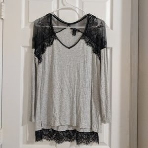 White House Black Market Lace Tee Size Small